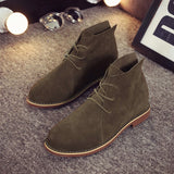 Leather Ankle Boots For Women Lace-Up Rubber Shoes Women