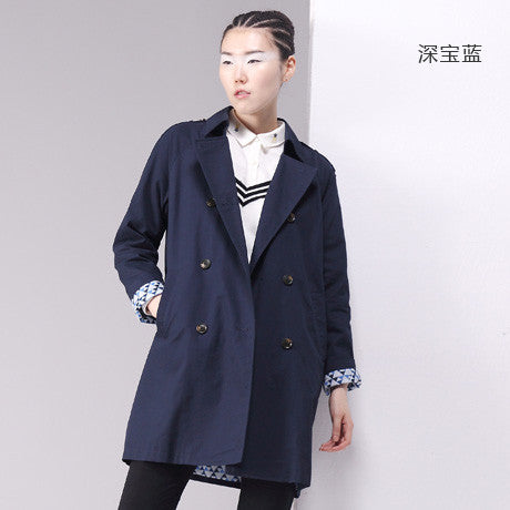 Trench Coat Women Double-Breasted Turn-Down Collar Medium Style
