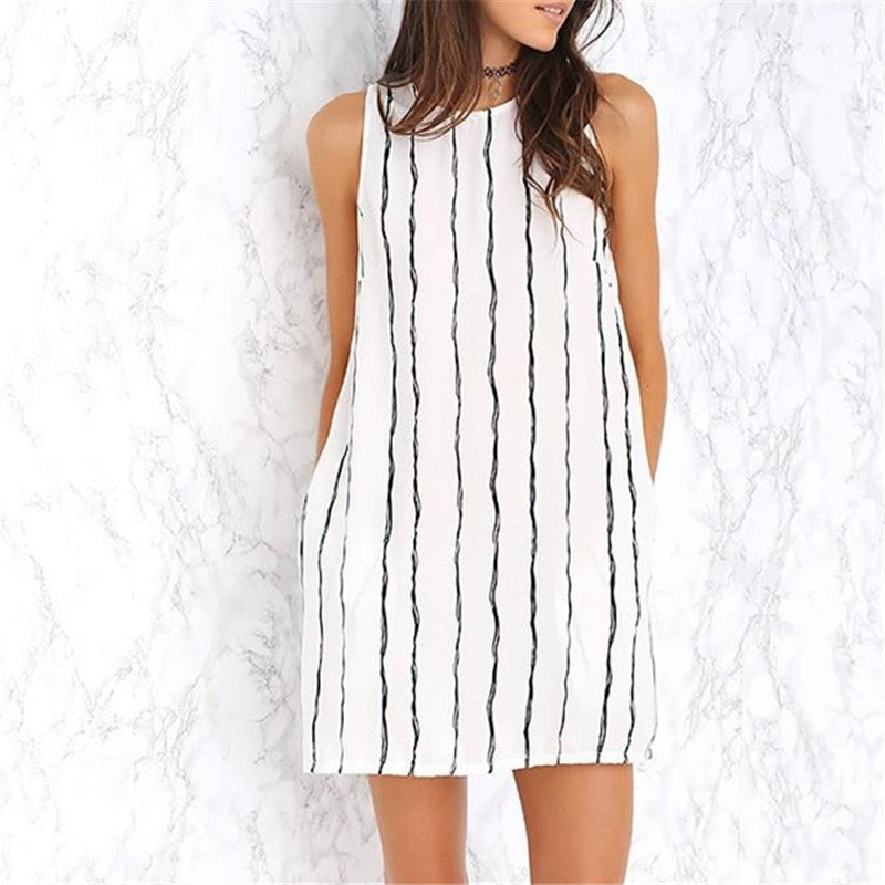 Womens Striped O Neck Loose Chiffon Mini Dress Casual Sleeveless Beach