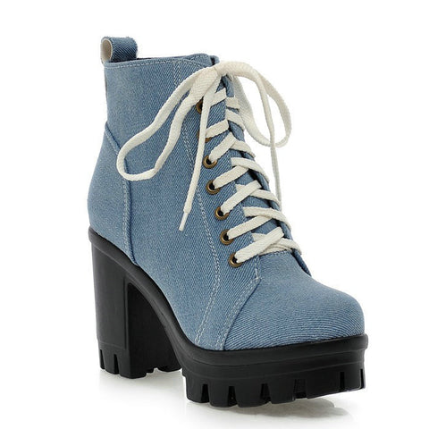Round toe Denim Skin Square Heel High Heeled Shoes