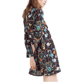 A-line dress o neck mini chiffon dress ladies summer retro casual dress