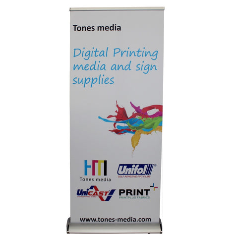 "13 Oz Premium Roll up banner Grey back 36""X164'"