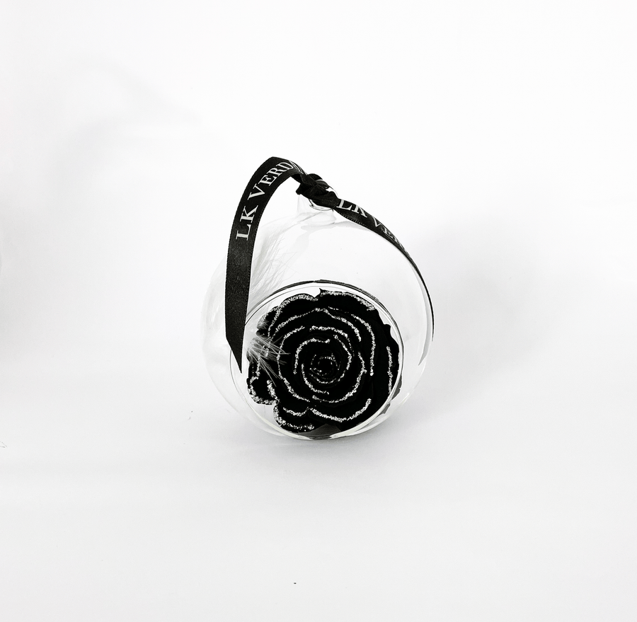 The Always Black Glitter Forever Rose - Shop for Flowers and Forever Roses - LK VERDANT