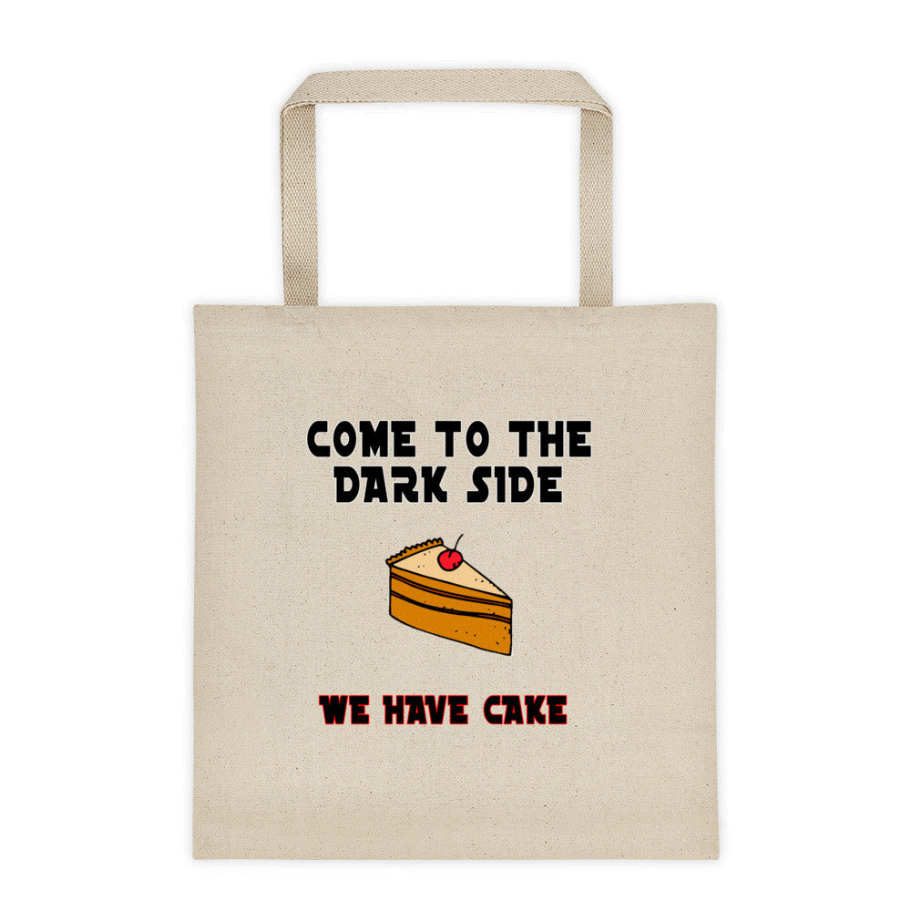 Dark side has cake tote bag