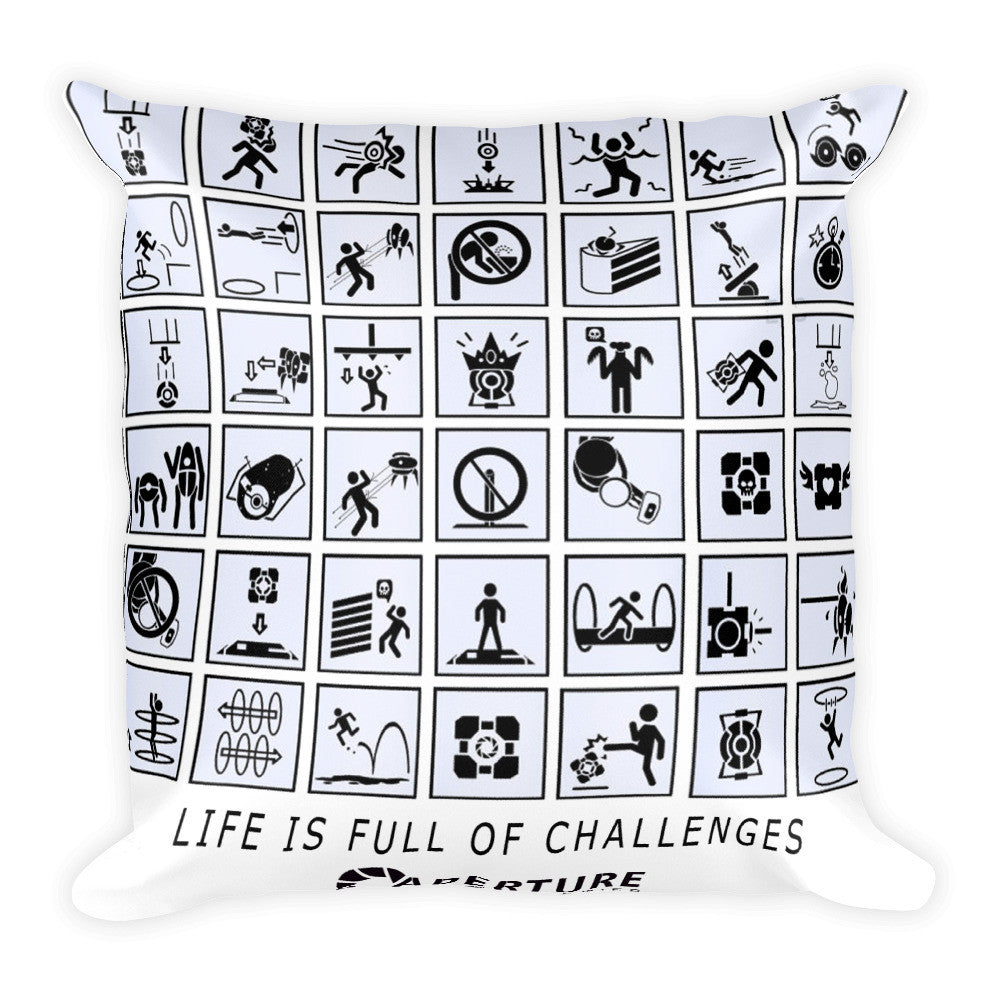 Portal 2 Life is full of challenges Square Pillow