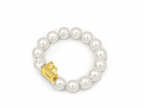 Pearl Bracelet with Gold Initial F