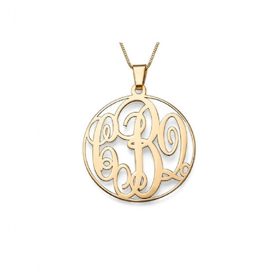 Solid Gold Monogram Necklace