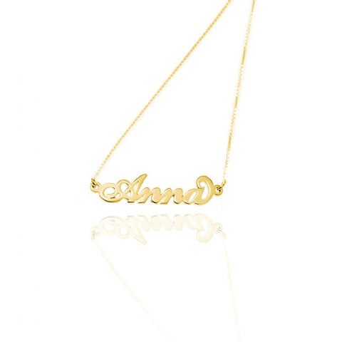14kt Solid Gold Name Necklace ( Double Thickness)