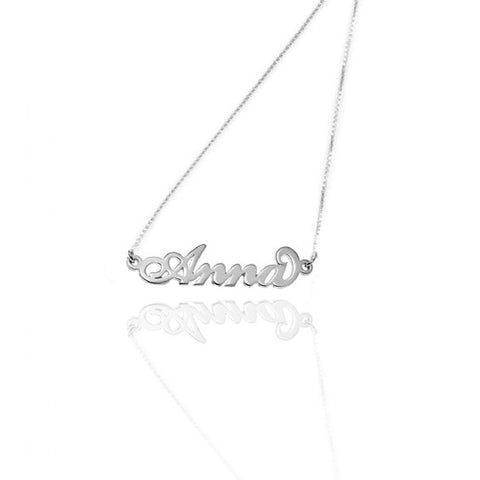 14kt White Gold Name Necklace (Double Thickness)
