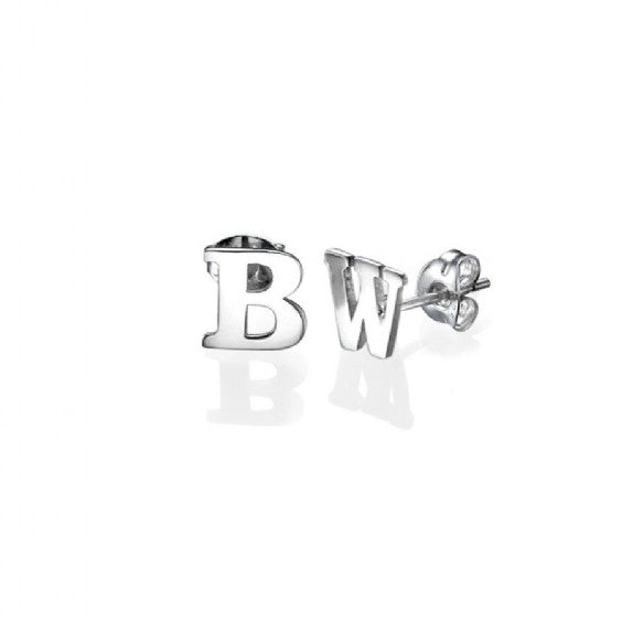 baby product gold tags earrings initial diamond stud babyanything earring white anything r tag