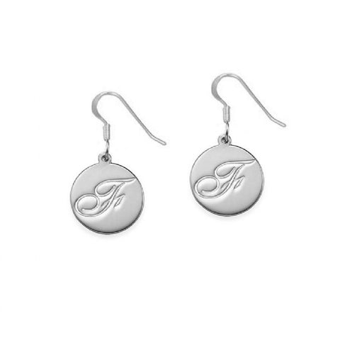 Initial Disc Earrings