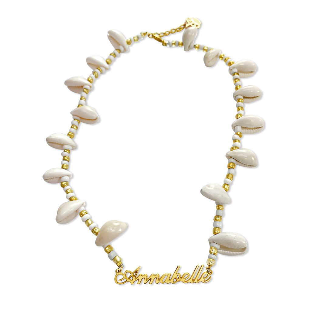 Beaded Shell Name Necklace