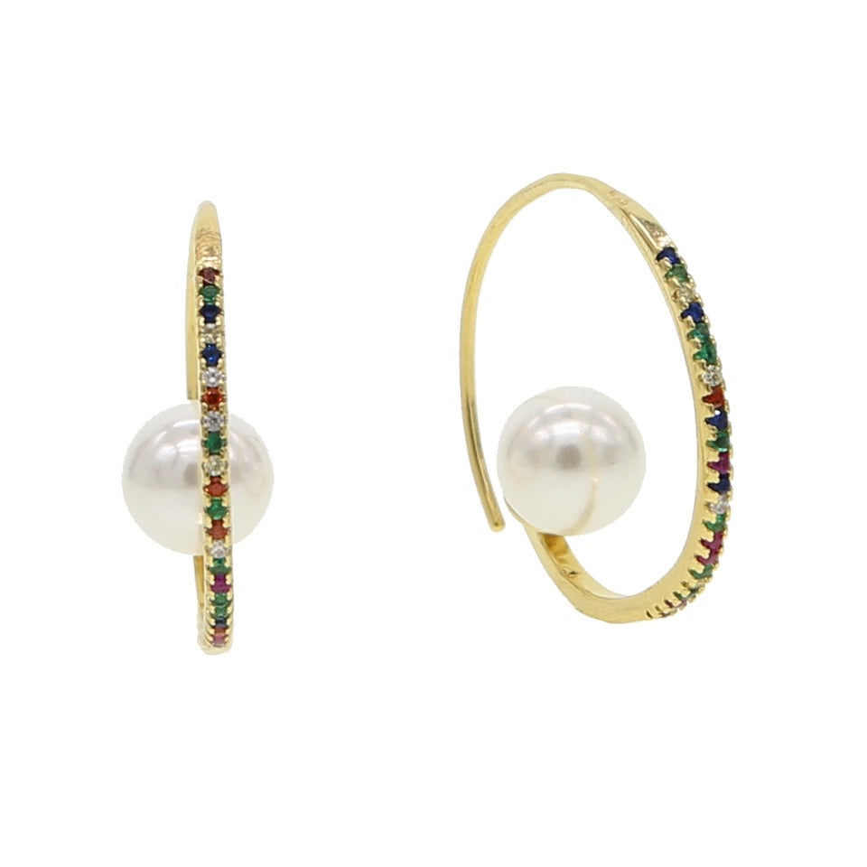 Royal Pearl Hoops
