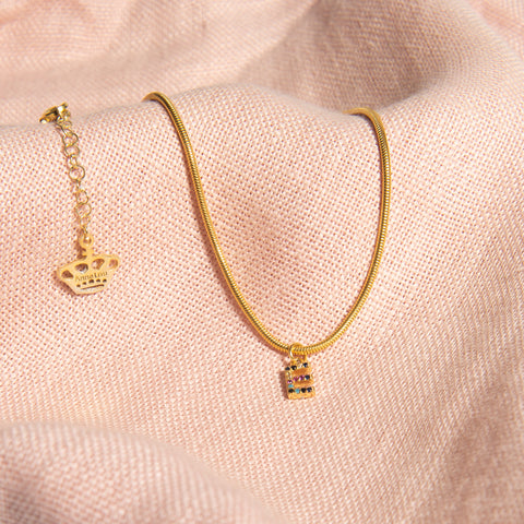 Crystal Initial on Snake Chain Necklace