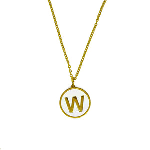 W Initial Pearl Necklace