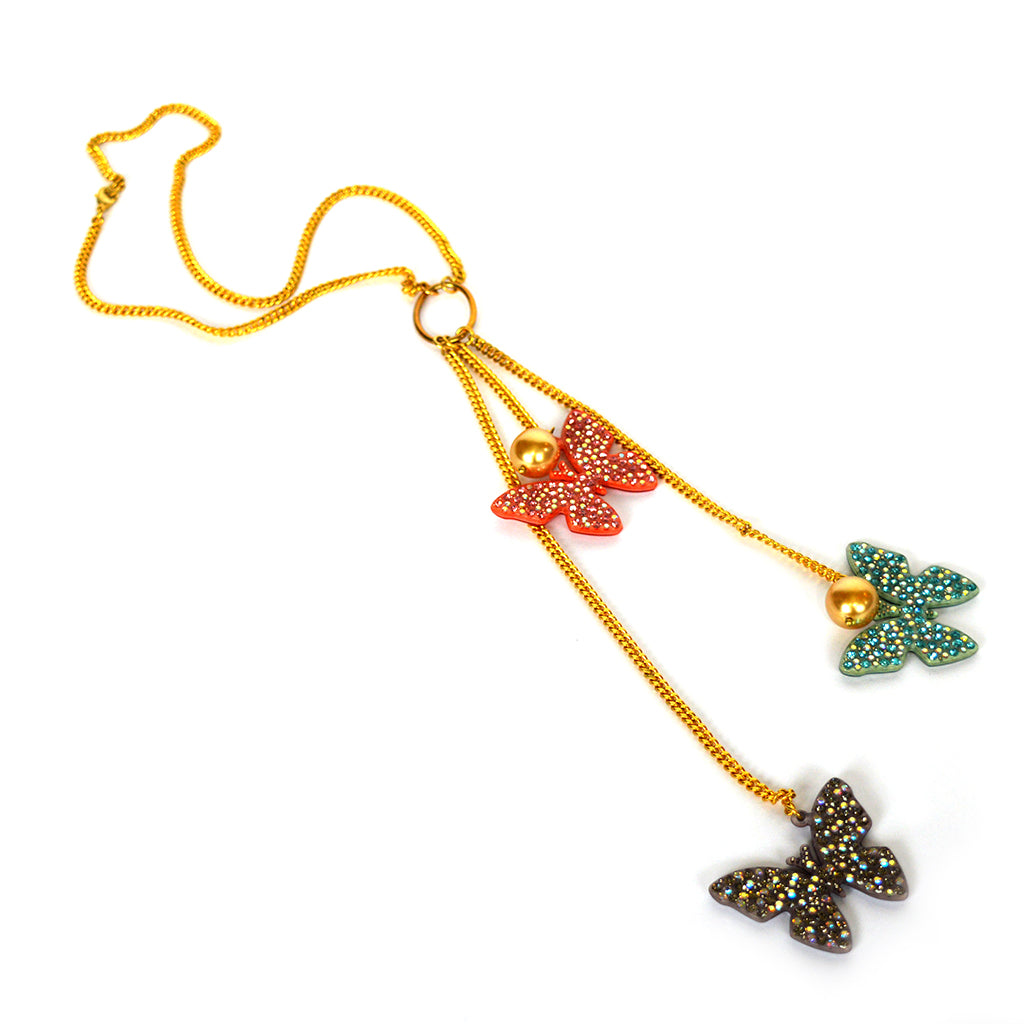Three Little Butterflies Necklace