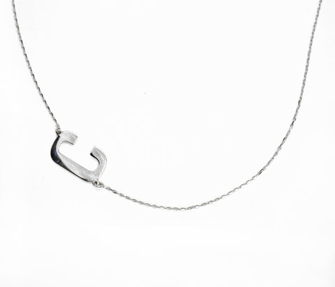 Initial C Sideways Necklace