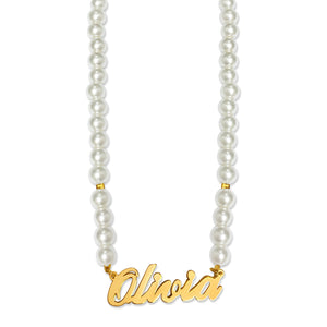 Audrey Pearl Beaded Name Necklace