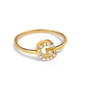 Amara Initial Ring with Crystals