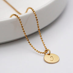 Initial J Disc Necklace