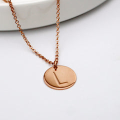 Initial L Disc Necklace