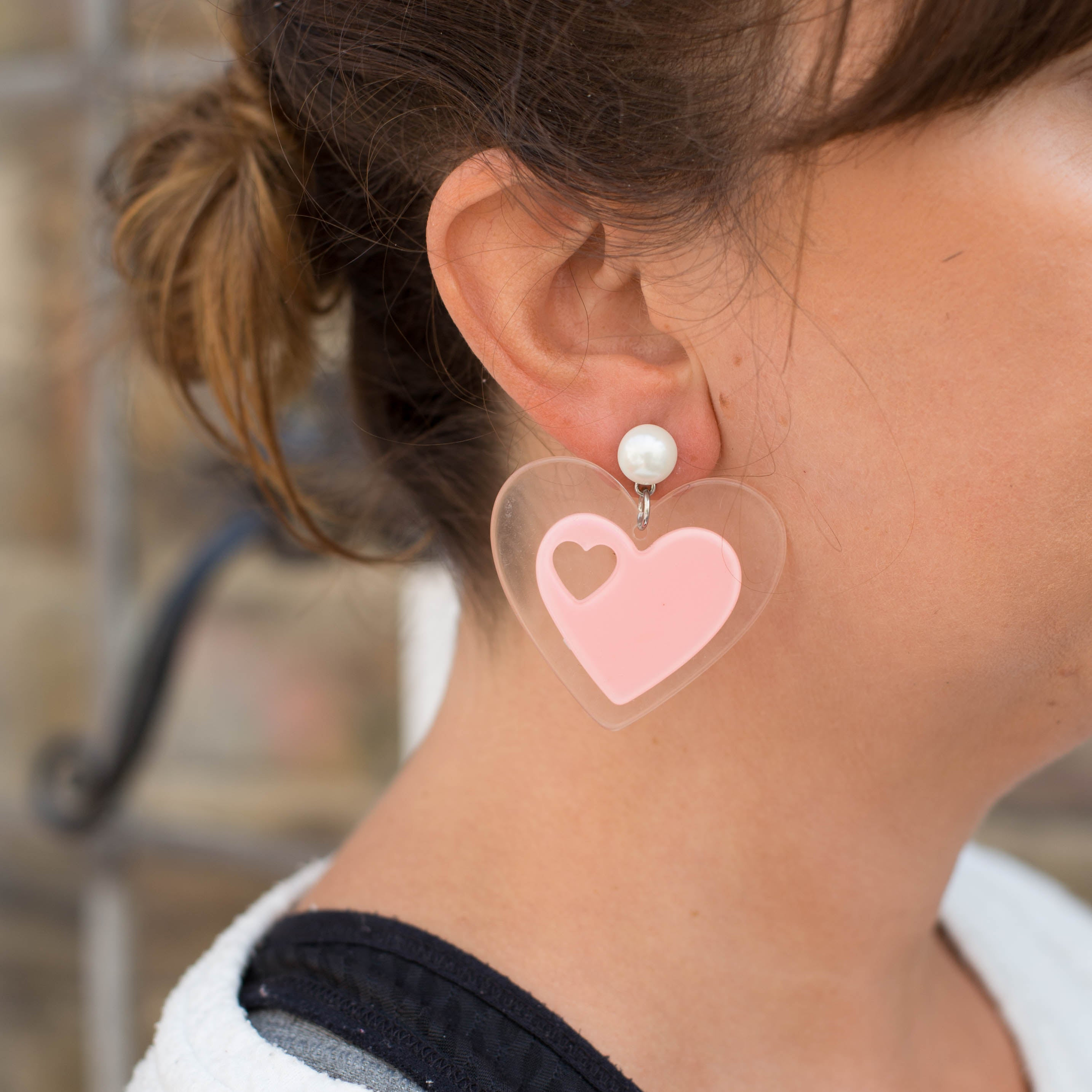 Translucent Heart Earrings