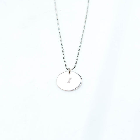 Initial I Disc Necklace