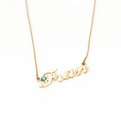 Fran Birthstone Name Necklace