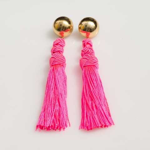 Neon Pink Tassel Earrings