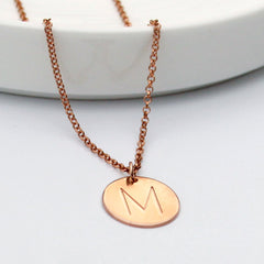 Initial M Disc Necklace