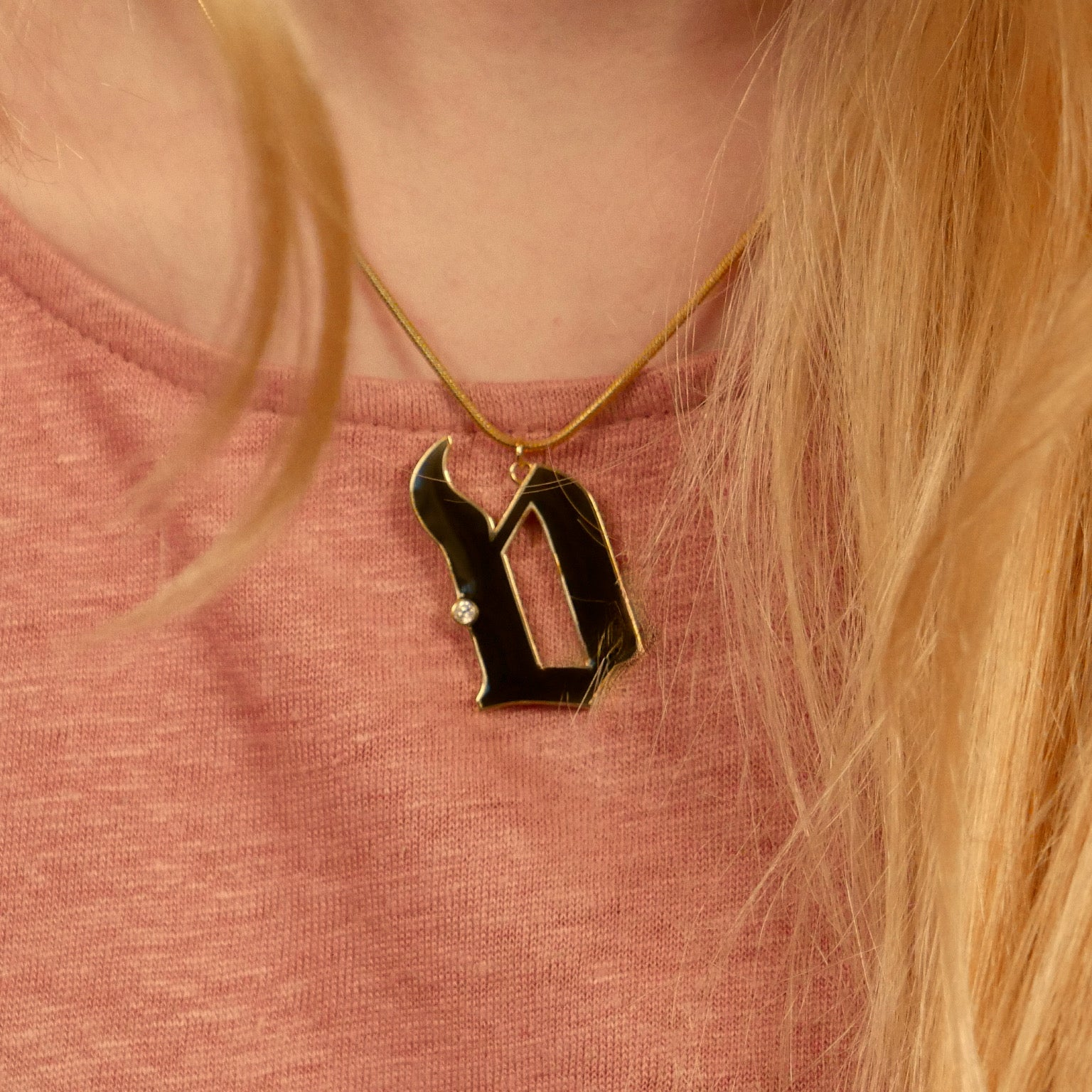 Enamel Initial Necklace