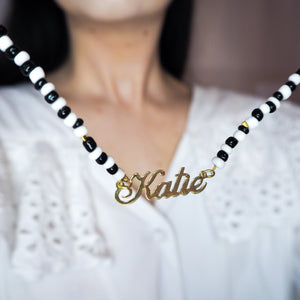 Monochrome Beaded Name Necklace