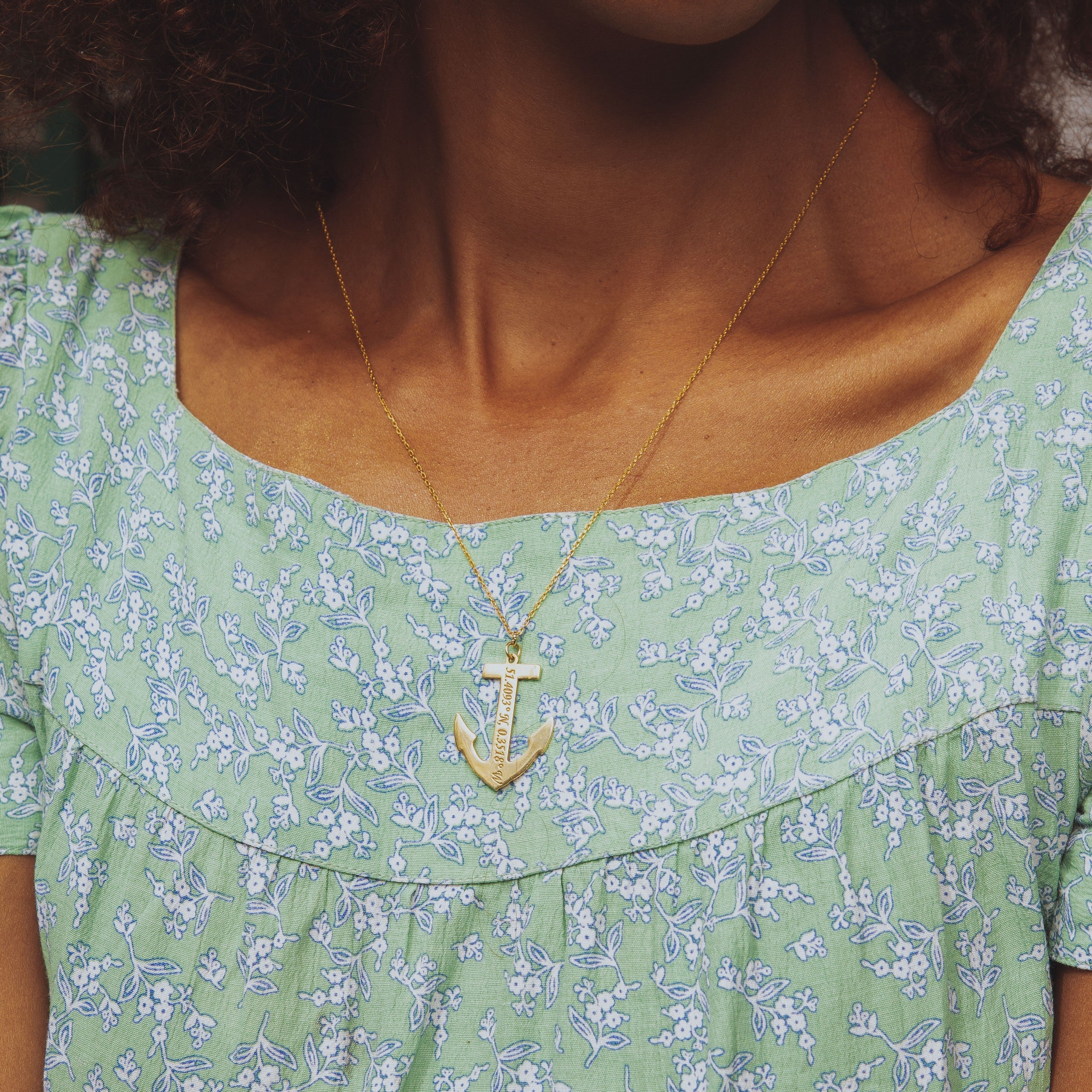 Anchor Coordinates Necklace