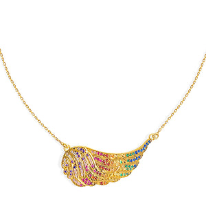 Rainbow Angel Wing Necklace