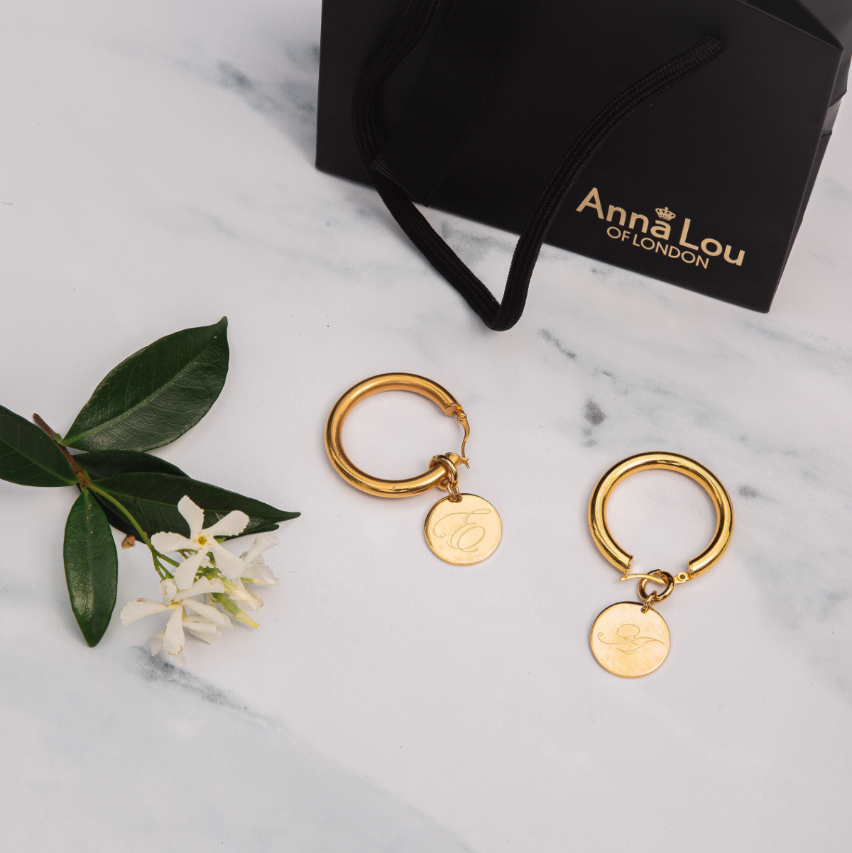 Angelina Initial Disc Hoops
