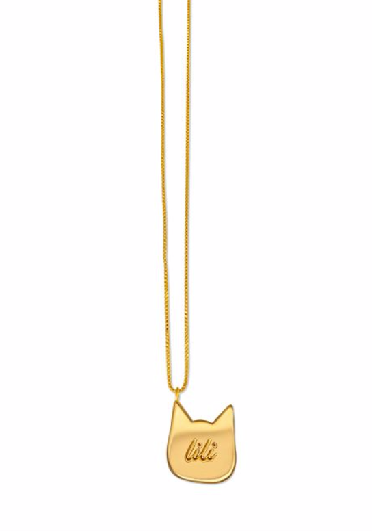 Engraved Cat Necklace
