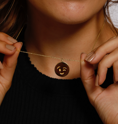 Wink Emoji Necklace