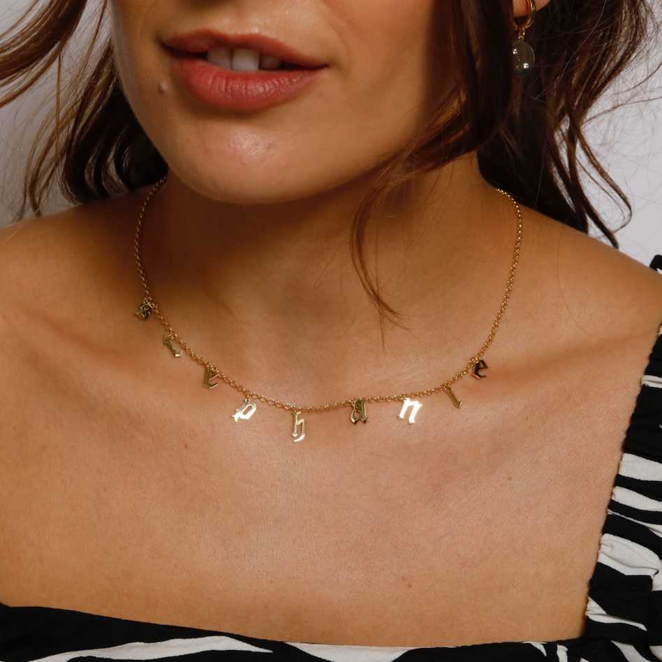 Old English Word Choker Necklace