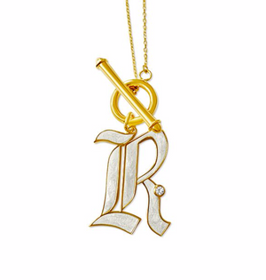T-Bar Enamel Initial Necklace