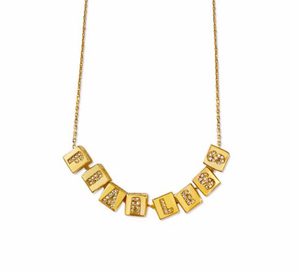Crystal Cube Letter Necklace