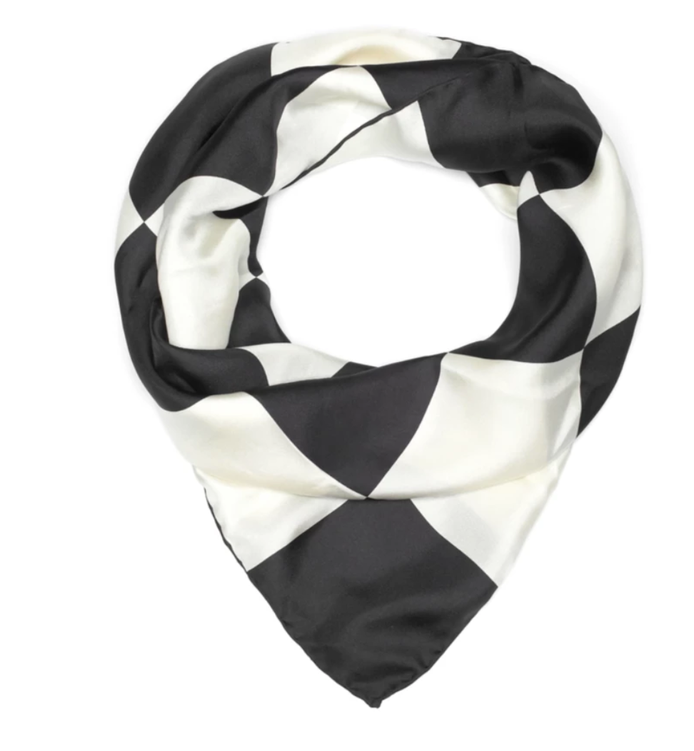 Black Checkerboard Silk Scarf