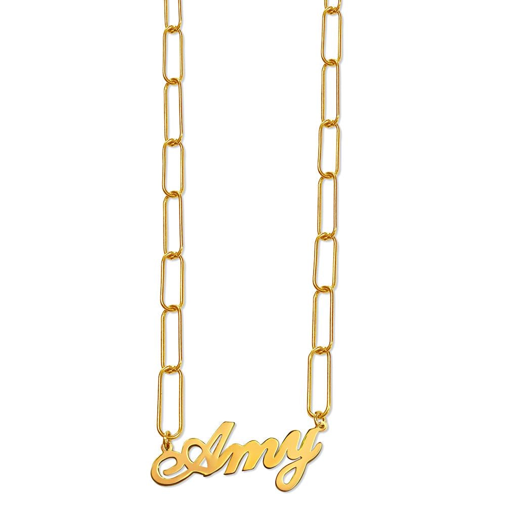 Name Necklace Rectangle Chain