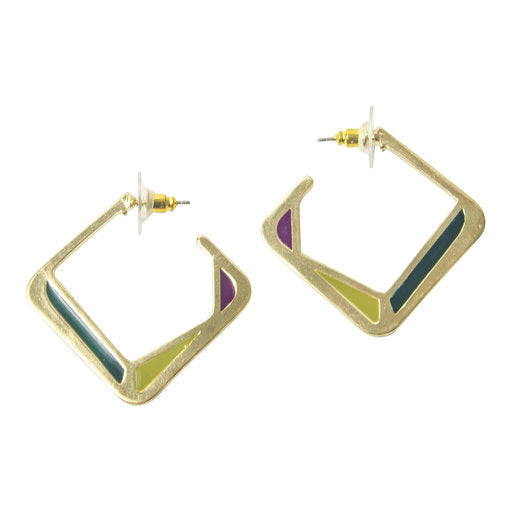 Enamel Square Hoops