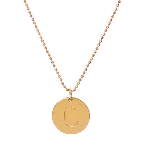 Initial C Disc Necklace