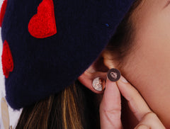 Initial Disc Stud Earrings