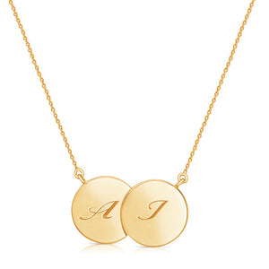 Double Disc Italic Letter Necklace