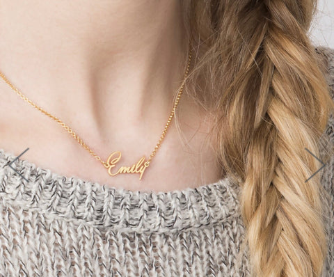 Solid 14kt Gold Name Necklace ( Double Thickness)