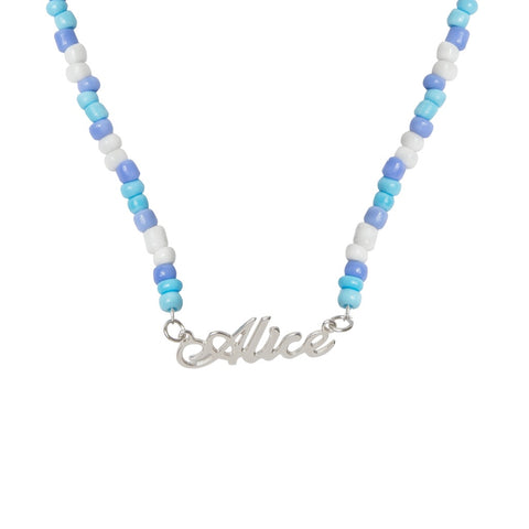 Ice Blue Beaded Name Necklace