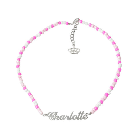 Flamingo Pink Beaded Name Necklace