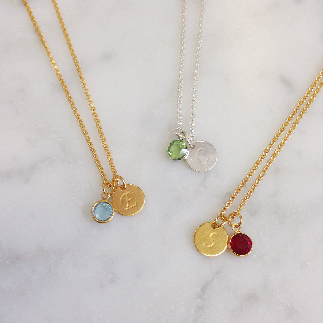 small initial necklace lou of